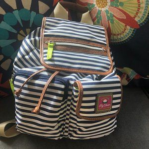 Lily Bloom Backpack Navy and White Stripe